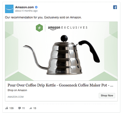 Cross-selling facebook ad example
