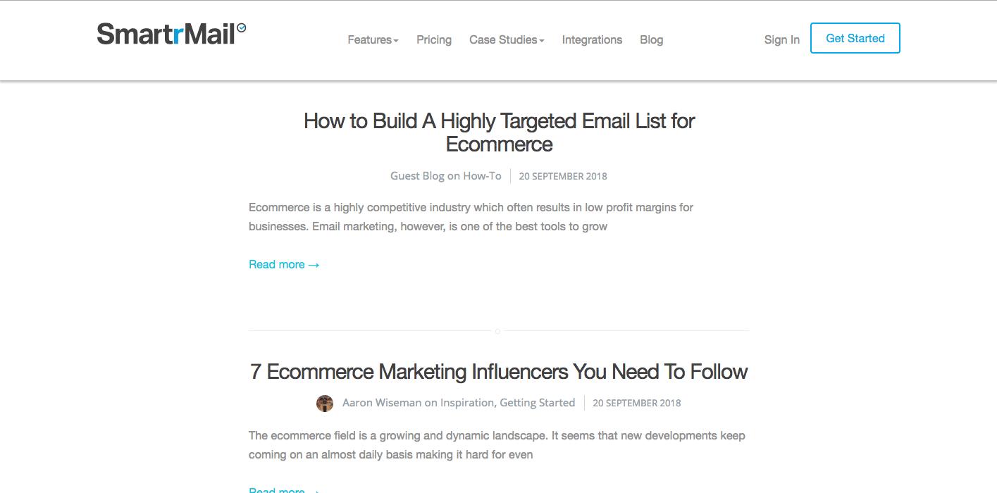 Screenshot of the SmartrMail blog