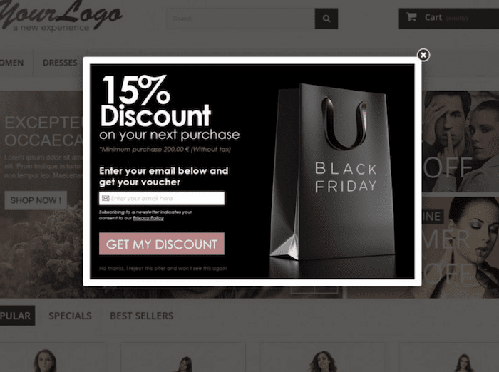 example of an email popup
