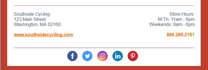 example of social links in footer