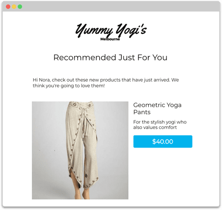 Example auto product recommendation email