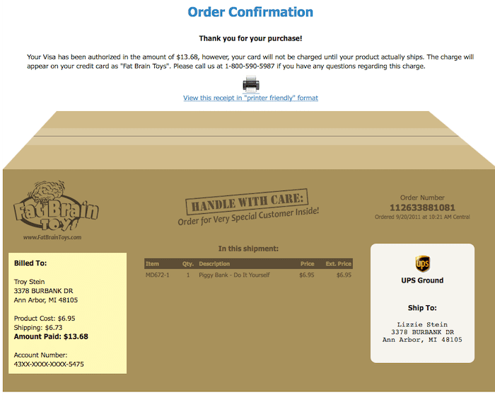 example of a fun order confirmation email