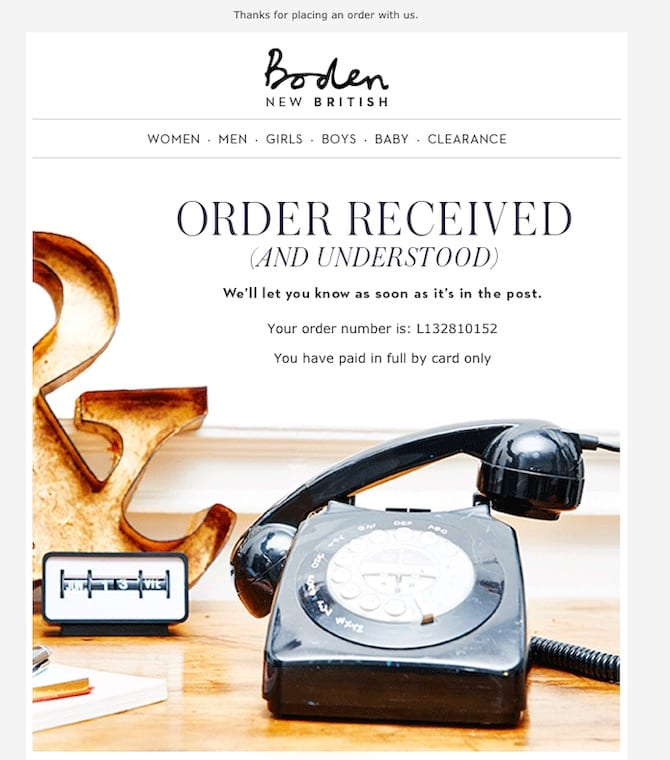 example of a well designed order confirmation email
