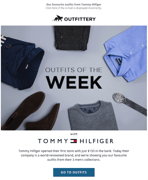 Tommy Hilfiger email with images that converts well