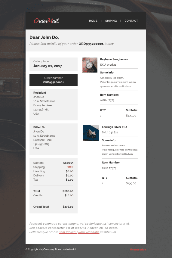 WooCommerce Email Template theme