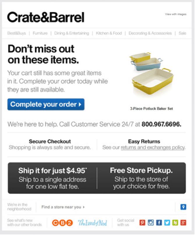 Example of an abandoned cart email that creates a sense of urgency