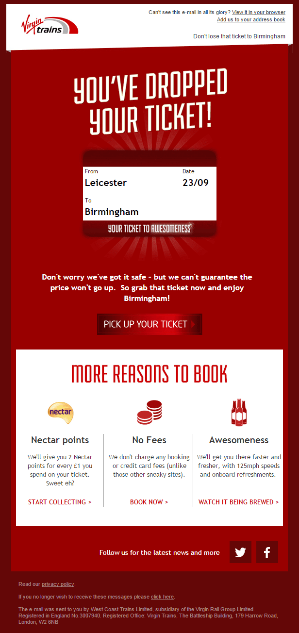 Virgin Trains abandoned email example