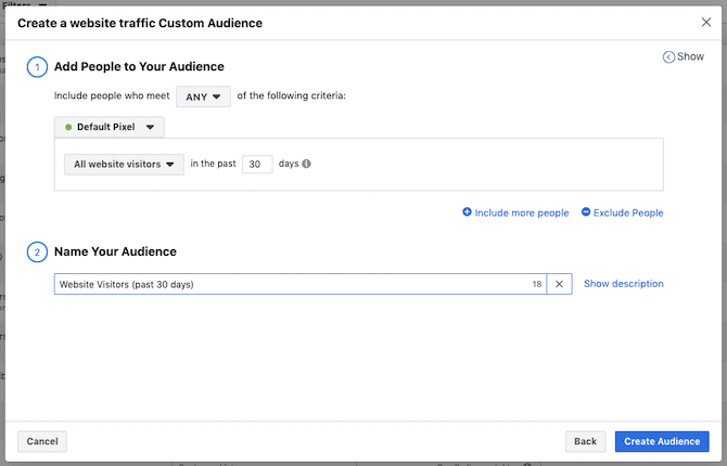 Example of facebook ad setup for Shopify stores