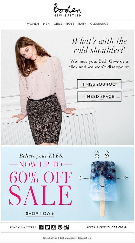 boden winback email example