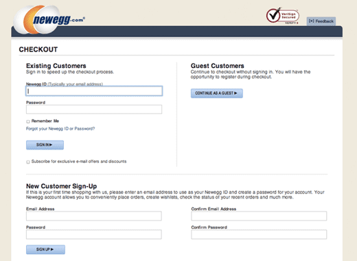 example of a bad shopify cart checkout page - newegg