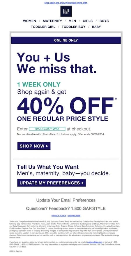 gap special offer winback reactivation email campaign