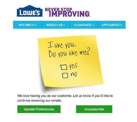 lowe's list cleaning email example