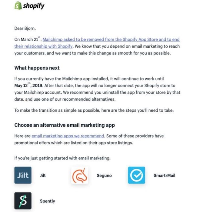 shopify email recommending mailchimp alternatives