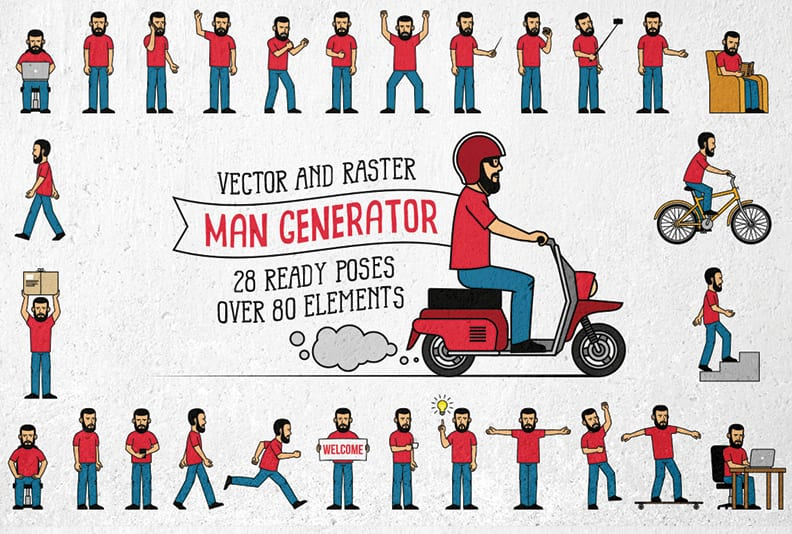 Bearded Men Generator Illustration