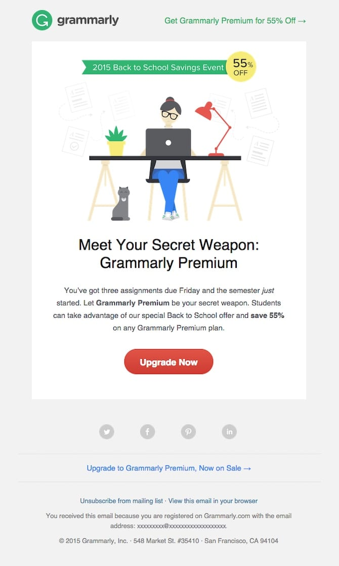 grammarly back to school email campaign