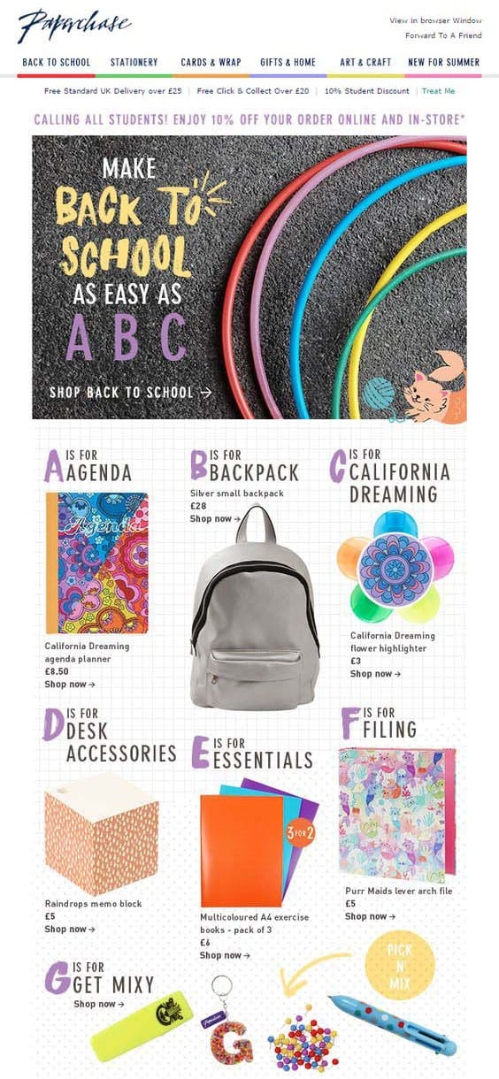 paperhase back to school email design