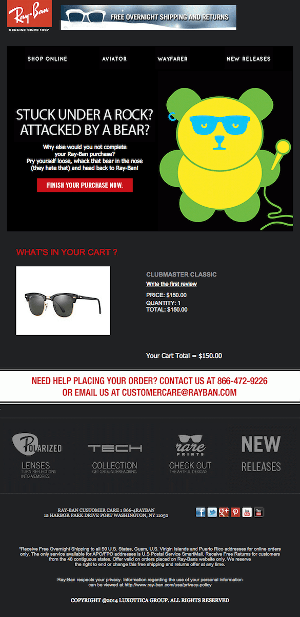 rayban's example abandoned cart email