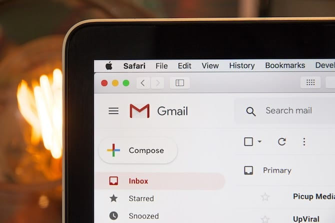 screenshot of email client