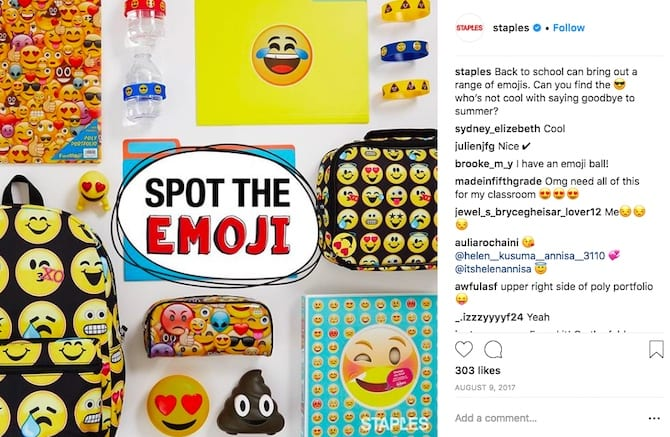 staples spot the emoji back to school campaign