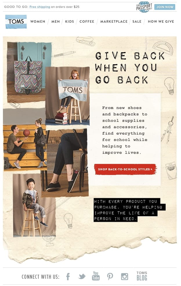 toms' back to school email