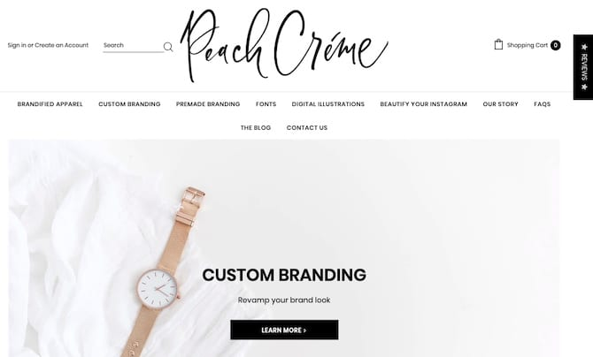 peachcreme - store selling digital goods on shopify