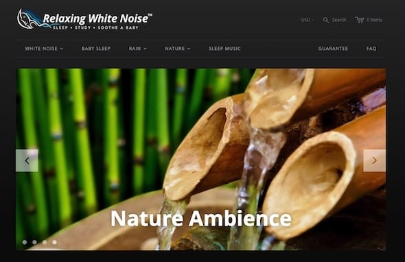 relaxing white noise - digital products store on shopify