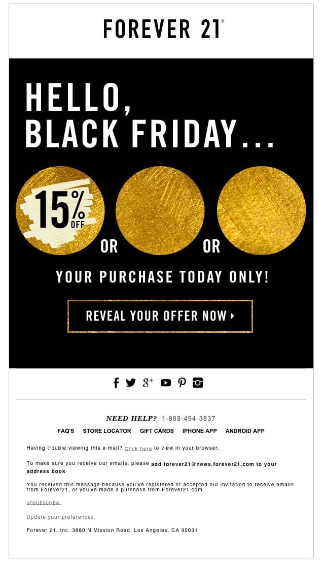 Forever 21 email example