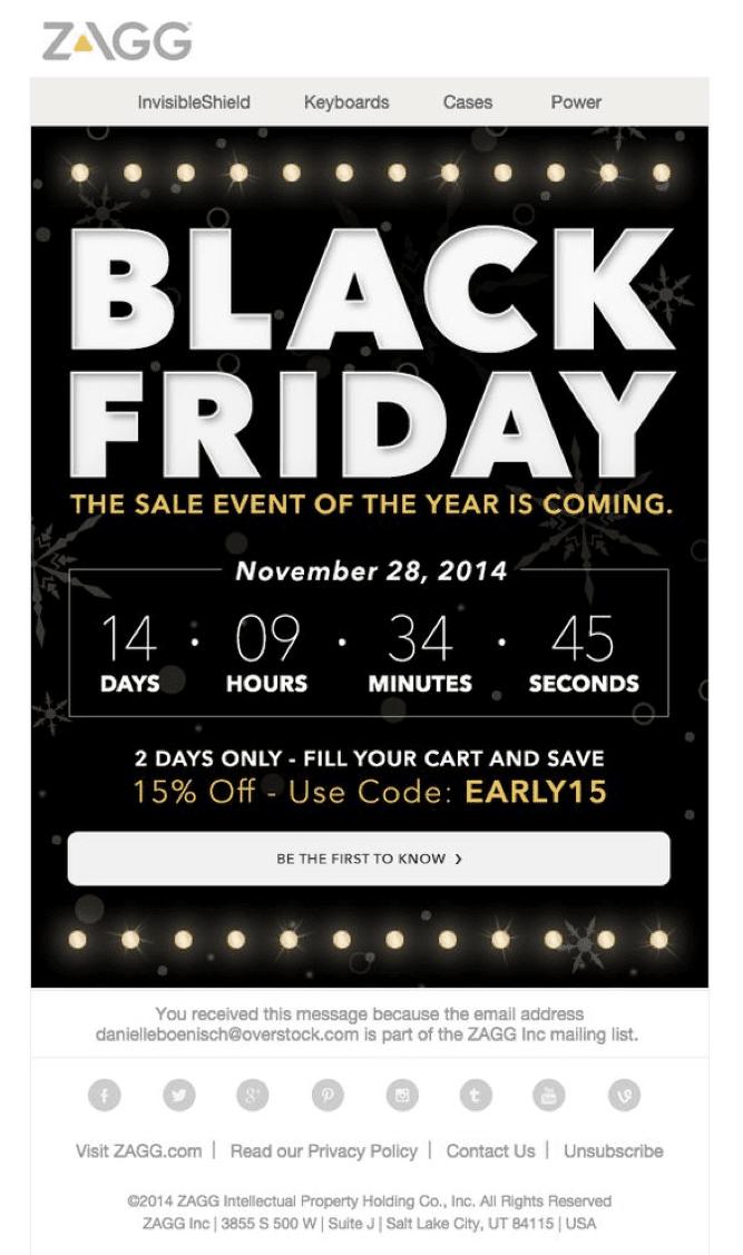Zagg Black Friday Email Countdown