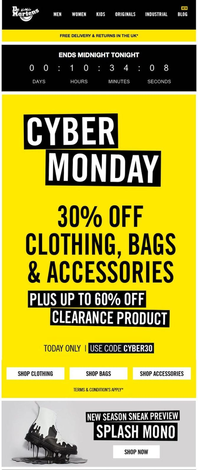 dr martens cyber monday email example