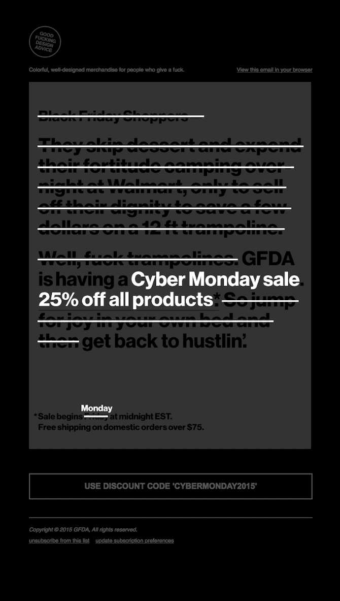 GFDA cyber monday email
