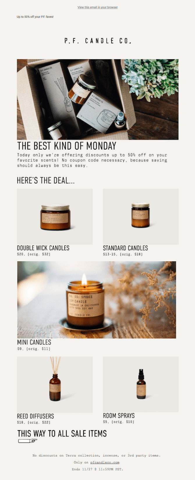 p.f. candle co. cyber monday email example