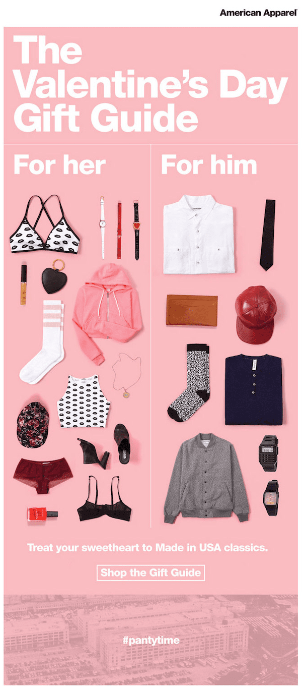 american apparel valentine's day email