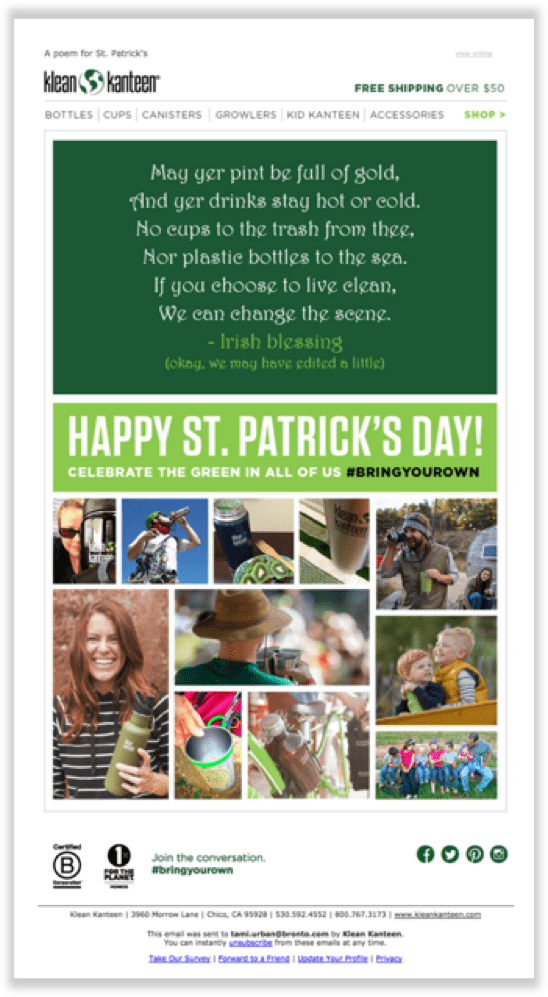klean kanteen - email for st. patrick's day