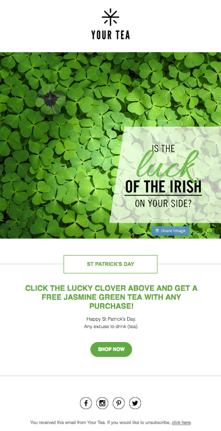 your tea - saint patricks day example email
