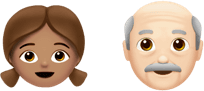 young and old emojis