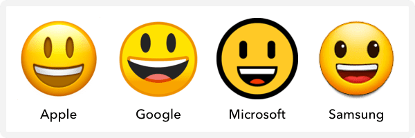smiley face across different mobile devices
