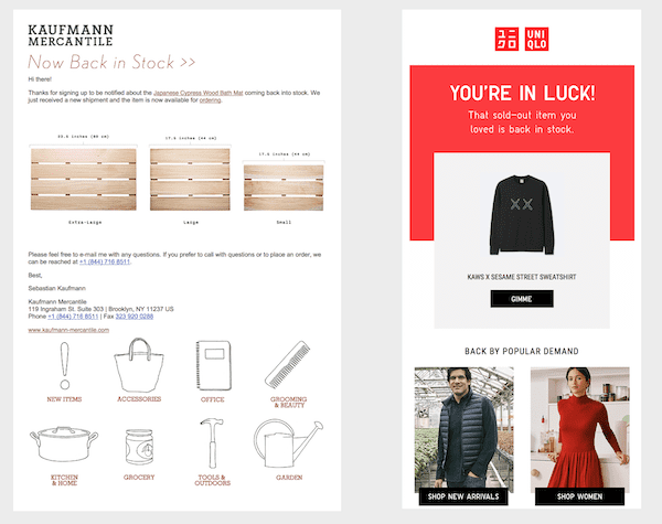 back in stock email examples