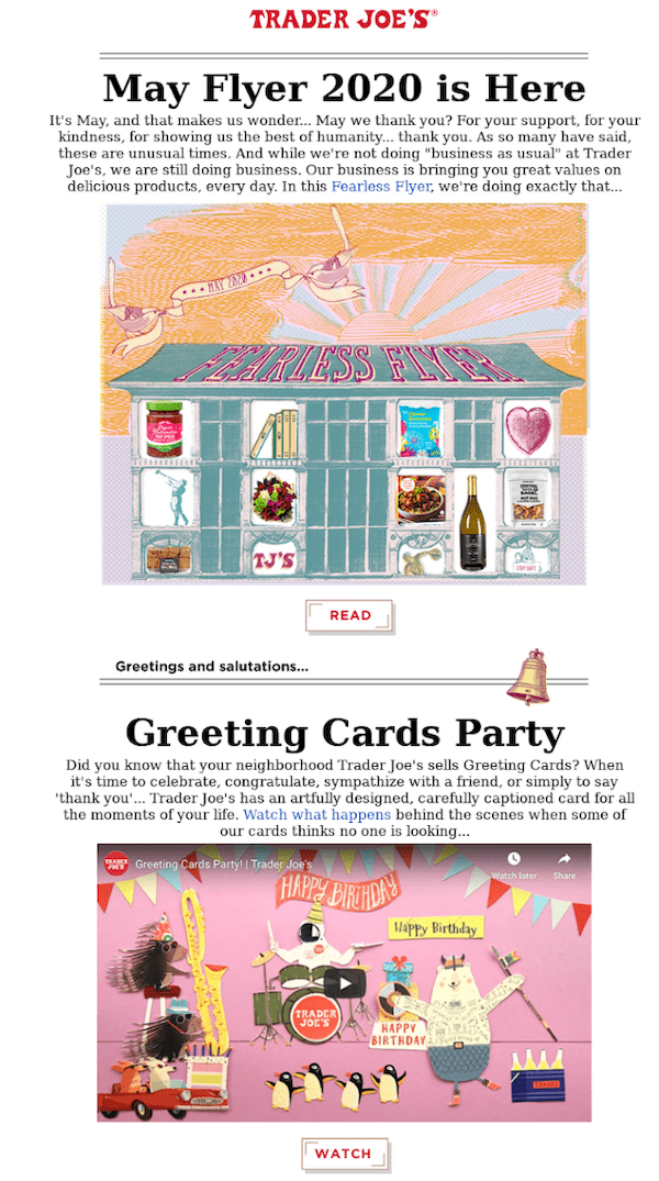 newsletter from trader joes