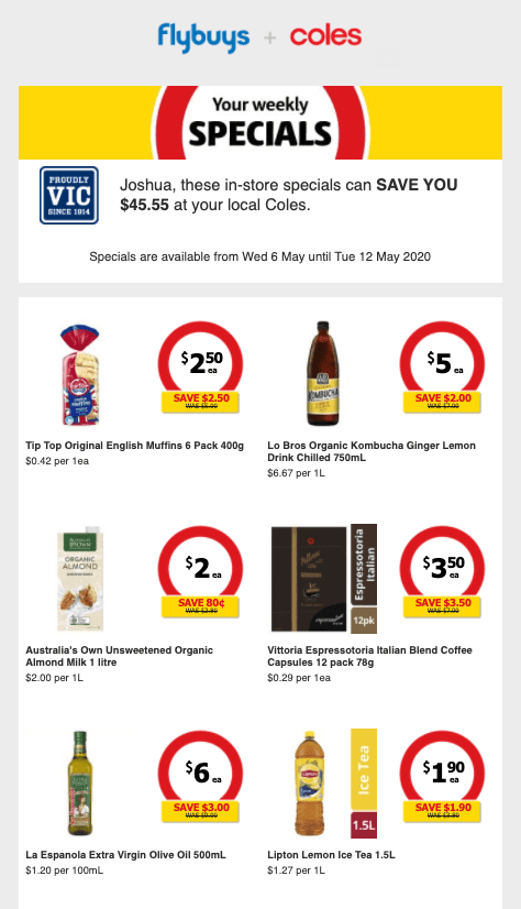 supermarket promotional email