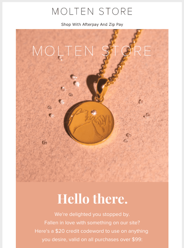 molten store welcome email