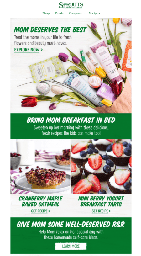 mother's day grocery store email