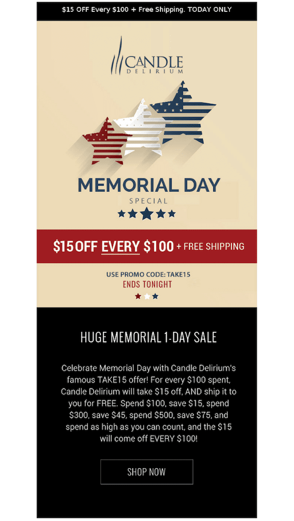 memorial day sale email example