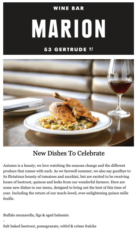 new menu items email