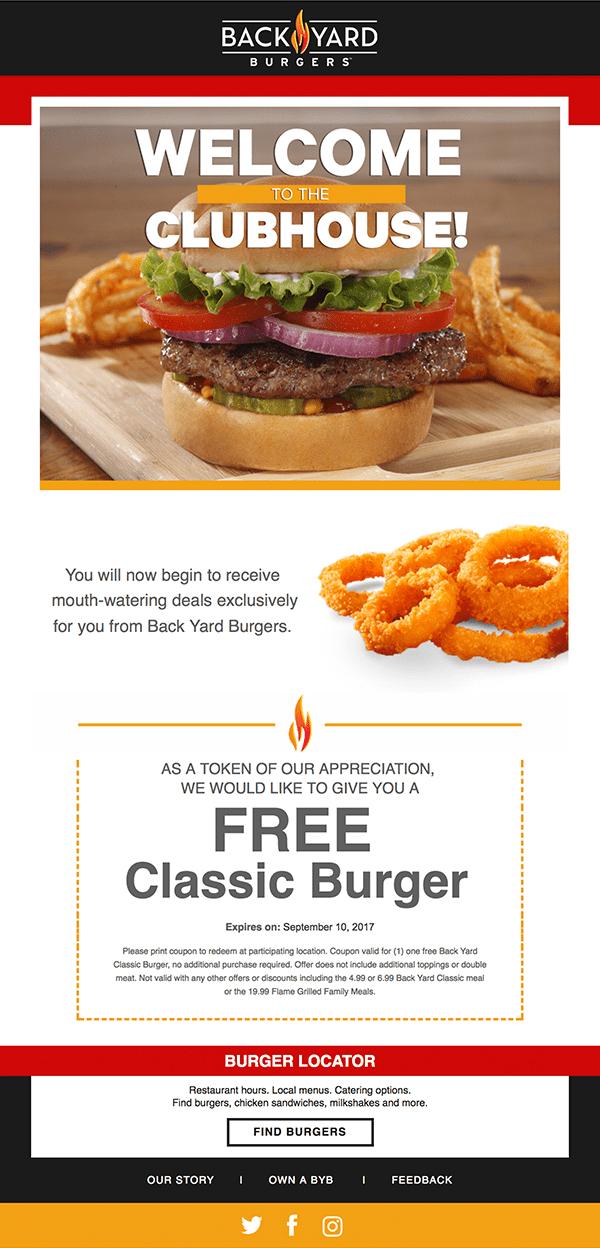 restaurant email marketing example