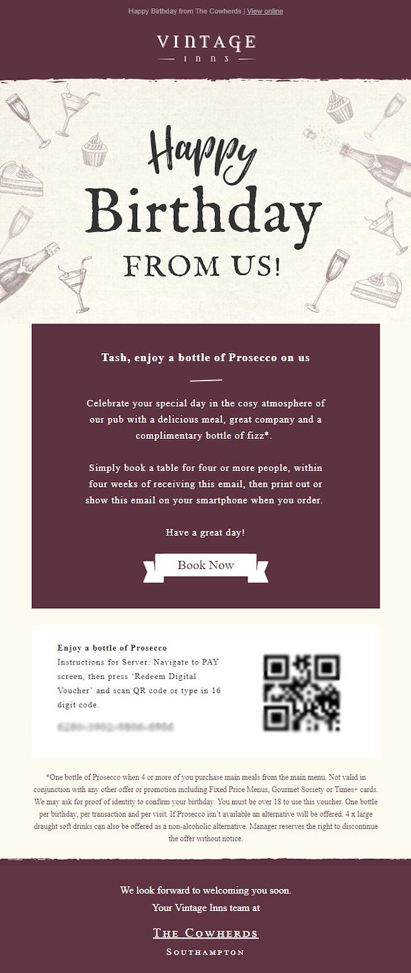 restaurant happy birthday email