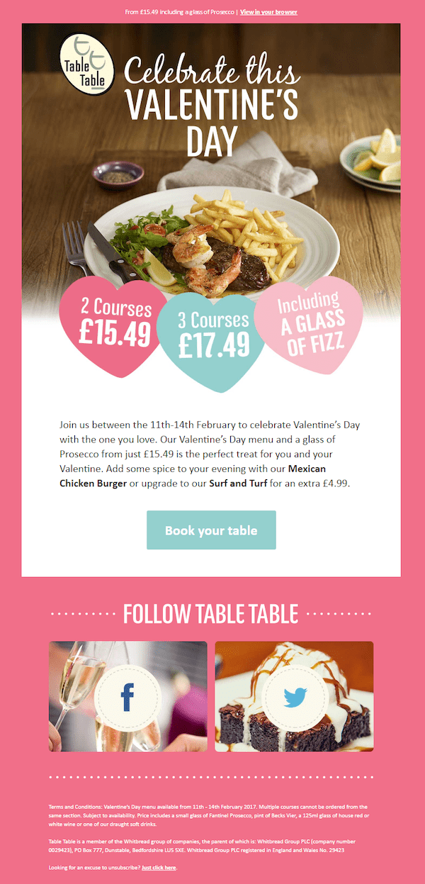 restaurant valentine's day email example