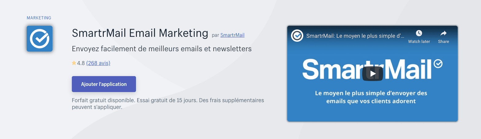 smartrmail's shopify france listing