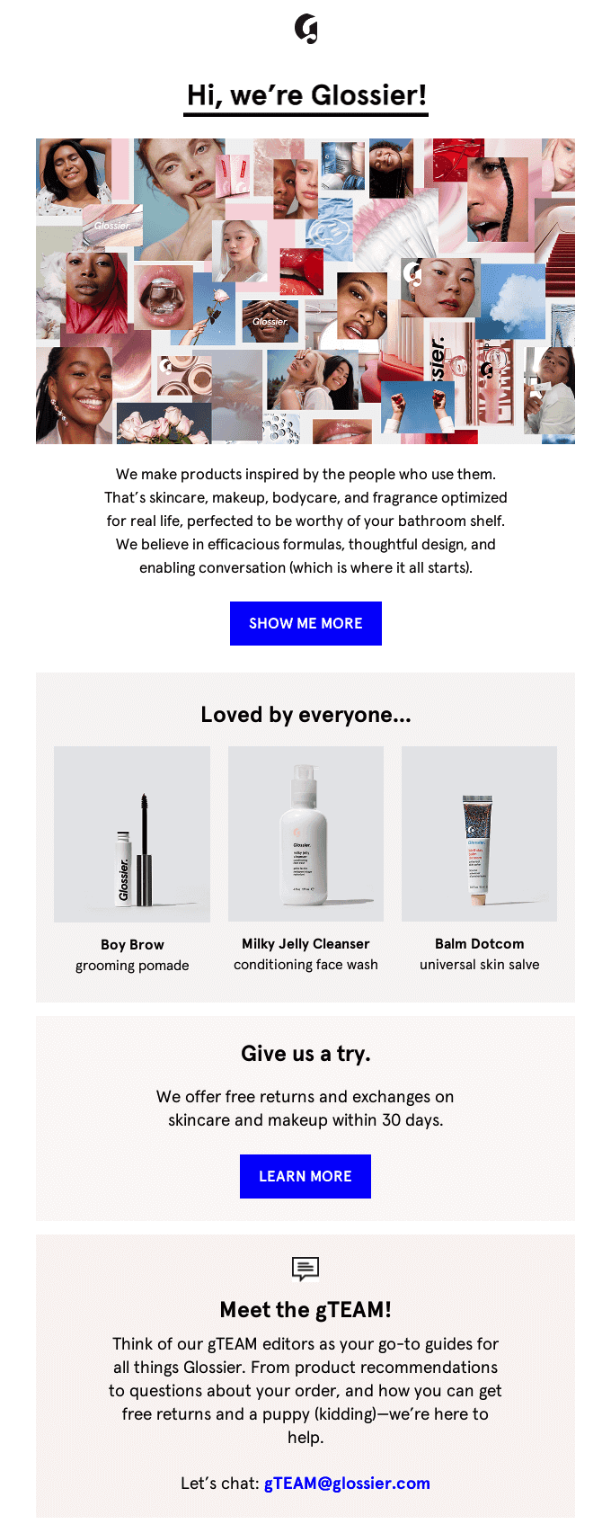 glossier welcome series