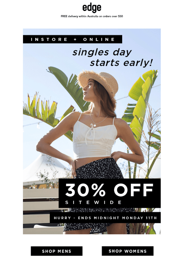 example of singles day email design