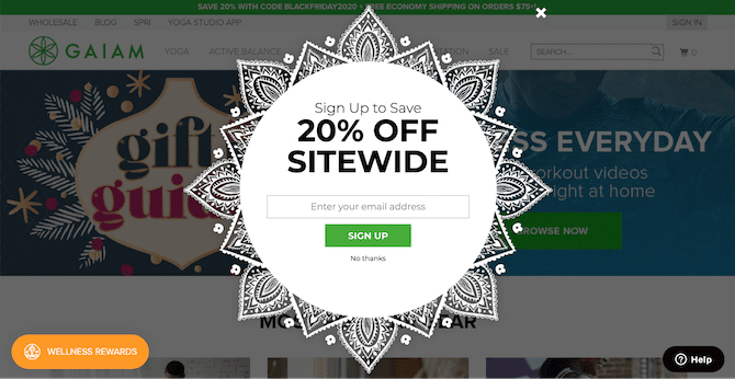 email pop up example